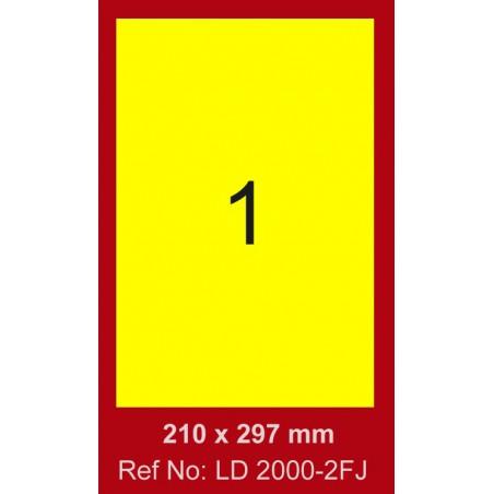 100x Etiquettes LINDO 100/1E / 210 x 297 mm / Jaune Fluo