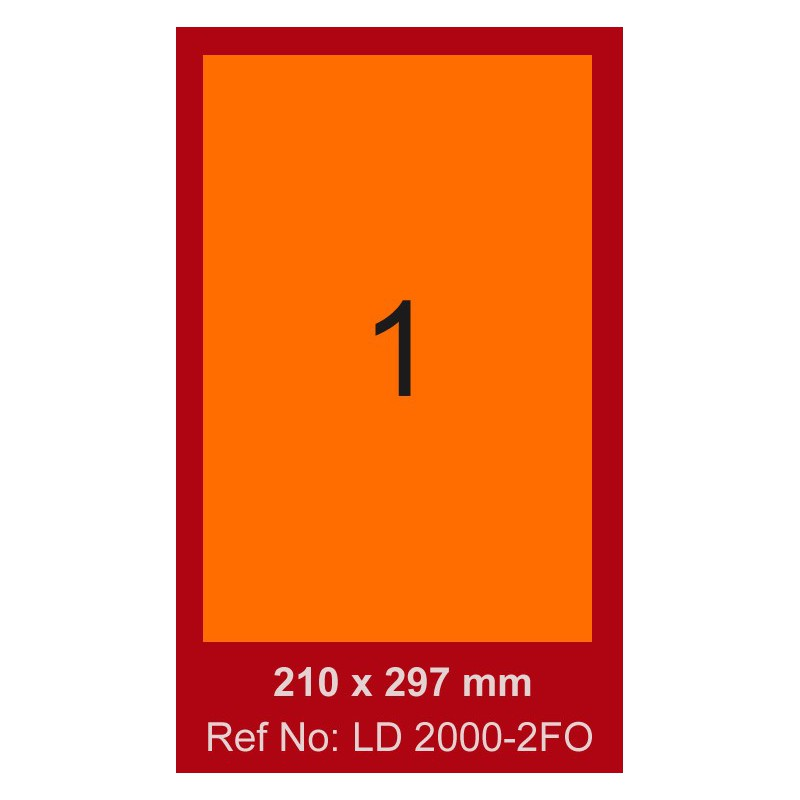 100x Etiquettes LINDO 100/1E / 210 x 297 mm / Orange Fluo