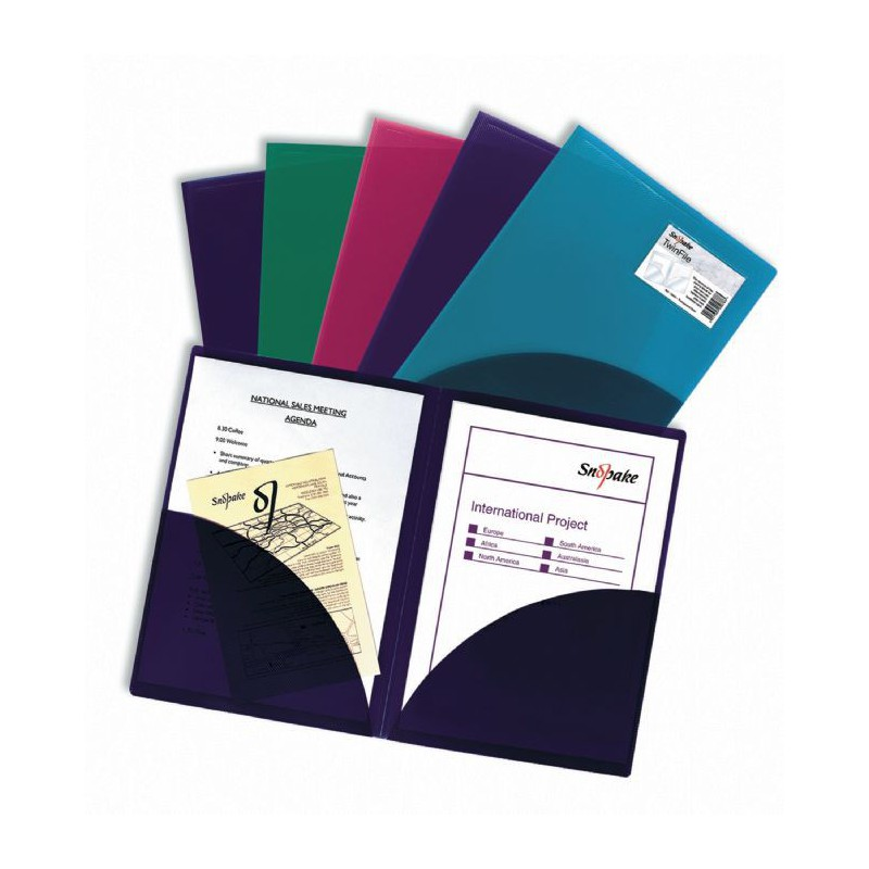 5x Pochettes de classement Snopake TwinFile A4 Electra
