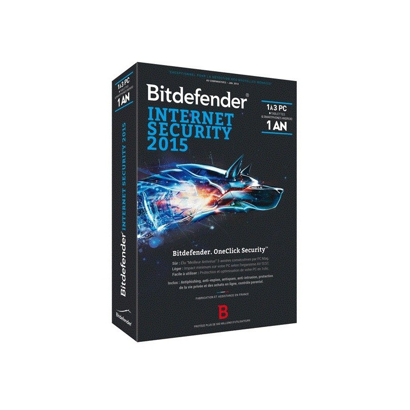 Bitdefender Internet Security Plus 2015 - 1 an / 3 Pcs