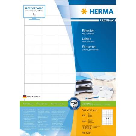 6500x Étiquettes HERMA Premium A4 / 38.1x21.2 mm