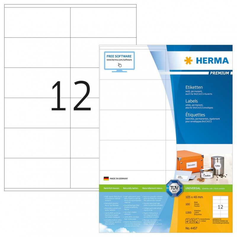 1200x Étiquettes HERMA Premium A4 / 105 x 48 mm