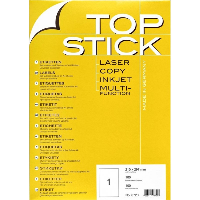 100x Etiquettes HERMA TOP STICK A4/1 / 210 x 297 mm