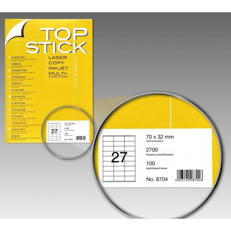2700x Etiquettes HERMA TOP STICK A4/27 / 70 x 32 mm