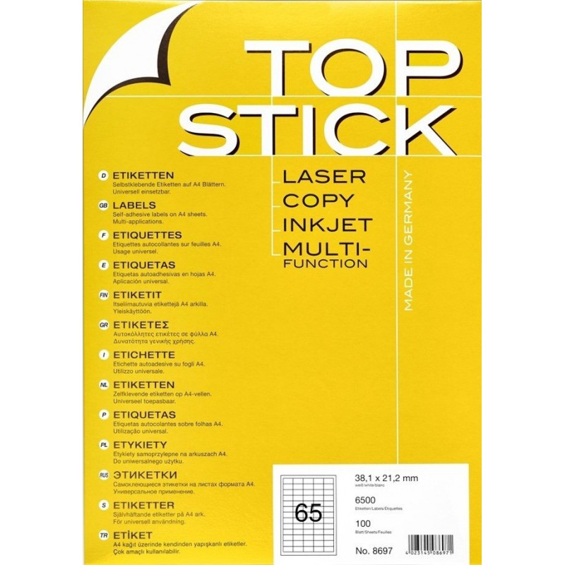 6500x Etiquettes HERMA TOP STICK A4/65 / 38.1 x 21.2 mm