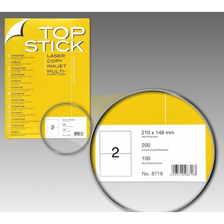200x Etiquettes HERMA TOP STICK A4/2 / 210 x 148 mm