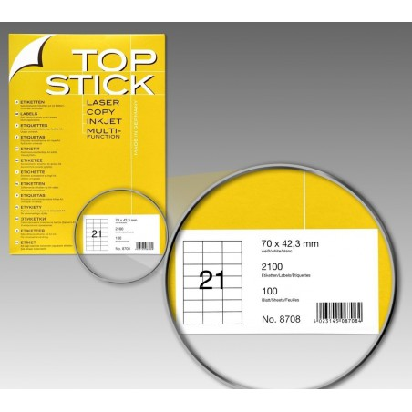 2100x Etiquettes HERMA TOP STICK A4/21 / 70 x 42.3 mm
