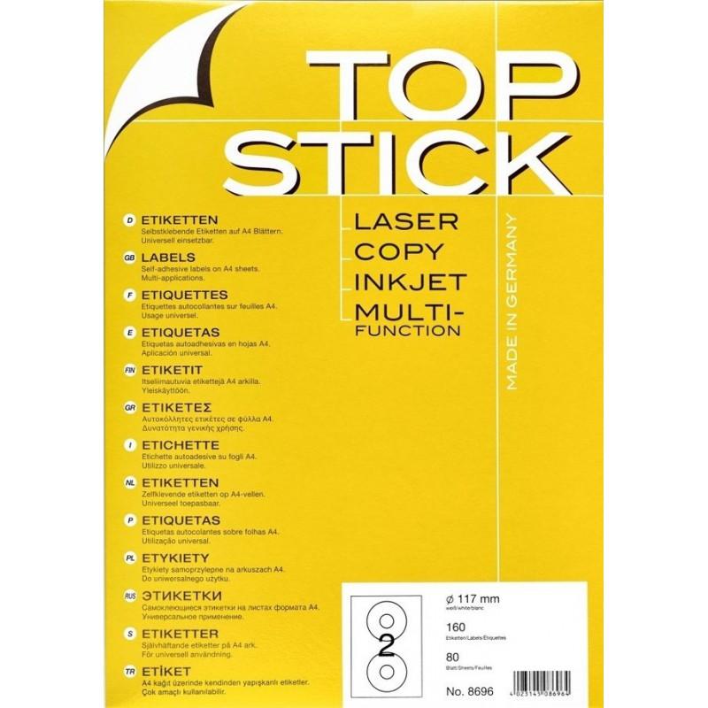 160x Etiquettes HERMA TOP STICK pour CD A4/2 / 117 mm