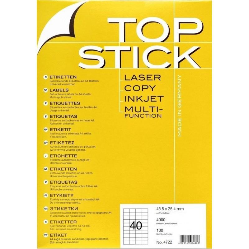 4000x Etiquettes HERMA TOP STICK A4/40 / 48.5 x 25.4 mm