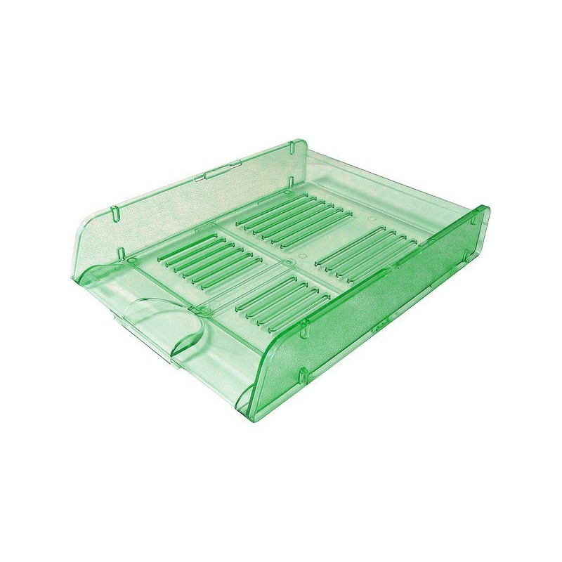 Corbeille à courrier HGE Cristal superposable A4 / Vert
