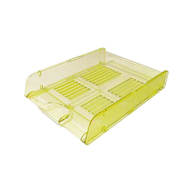 Corbeille à courrier HGE Cristal superposable A4 / Jaune