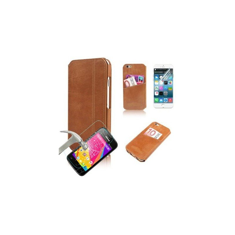 Flip case + Film Anti-choc pour iPhone 6S / Marron