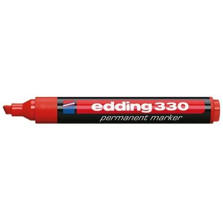 Marqueur permanent avec fonction clip Edding 330 / Rouge