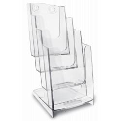Porte Dépliants ARDA 4 compartiments 1/3 A4 / Cristal