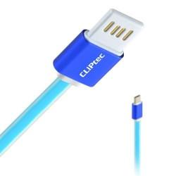 Câble plat CLiPtec TITANIUM USB vers Micro-USB pour Smartphone / Bleu
