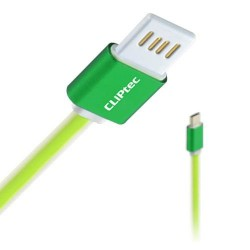 Câble plat CLiPtec TITANIUM USB vers Micro-USB pour Smartphone / Vert