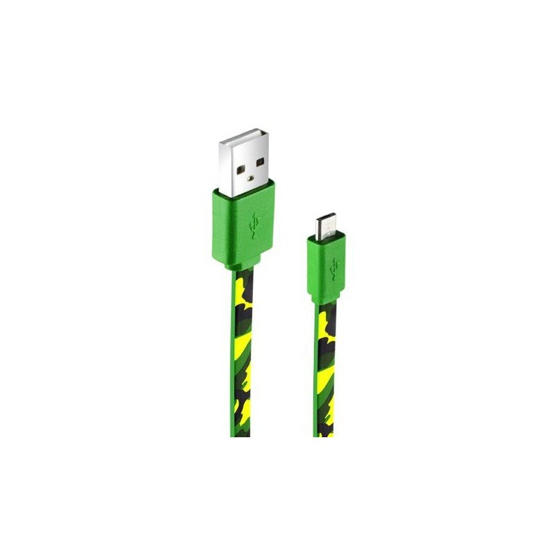 Câble plat CLiPtec ARMY USB vers Micro-USB pour Smartphone / Vert