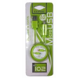 Câble plat CLiPtec LIGHT USB vers Micro-USB pour Smartphone / Vert
