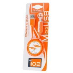 Câble plat CLiPtec LIGHT USB vers Micro-USB pour Smartphone / Orange