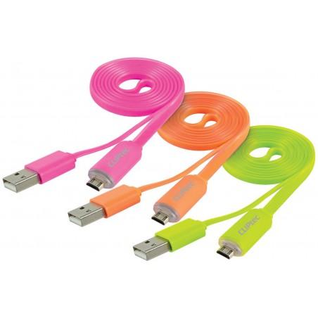 Câble plat CLiPtec LIGHT USB vers Micro-USB pour Smartphone / Rose