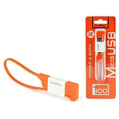 Câble plat CLiPtec LOCK USB vers Micro-USB pour Smartphone / Orange