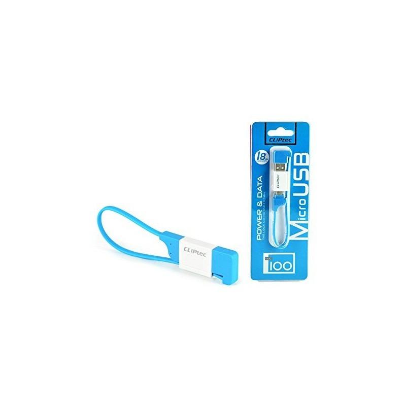 Câble plat CLiPtec LOCK USB vers Micro-USB pour Smartphone / Bleu