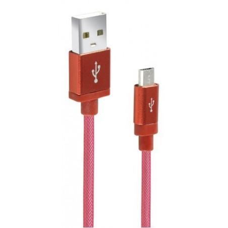 Câble CLiPtec JACKET-M2 USB vers Micro-USB pour smartphone / Rouge