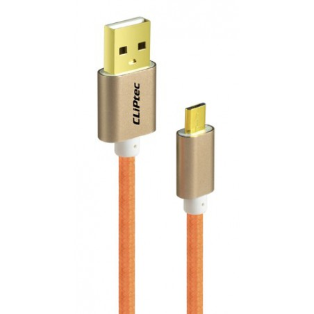 Câble CLiPtec JACKET-M USB vers Micro-USB pour smartphone / Orange