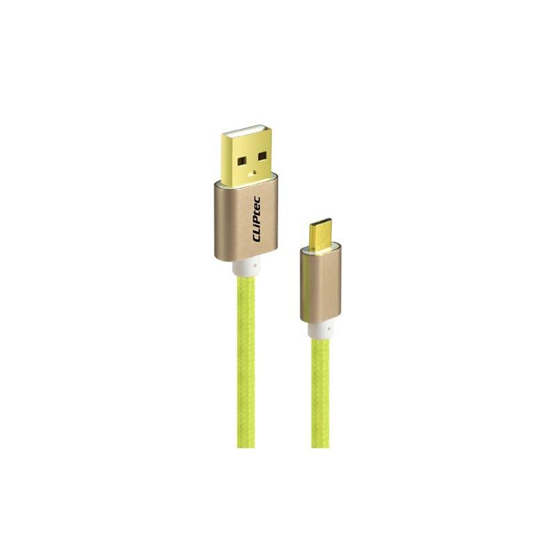 Câble CLiPtec JACKET-M USB vers Micro-USB pour smartphone / Vert