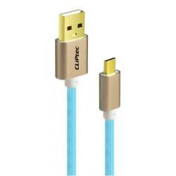 Câble CLiPtec JACKET-M USB vers Micro-USB pour smartphone / Bleu
