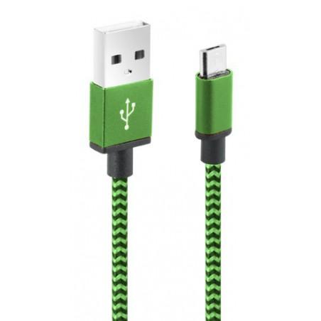 Câble CLiPtec JACKET-M3 USB vers Micro-USB pour smartphone / Vert