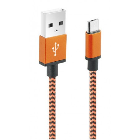 Câble CLiPtec JACKET-M3 USB vers Micro-USB pour smartphone / Orange