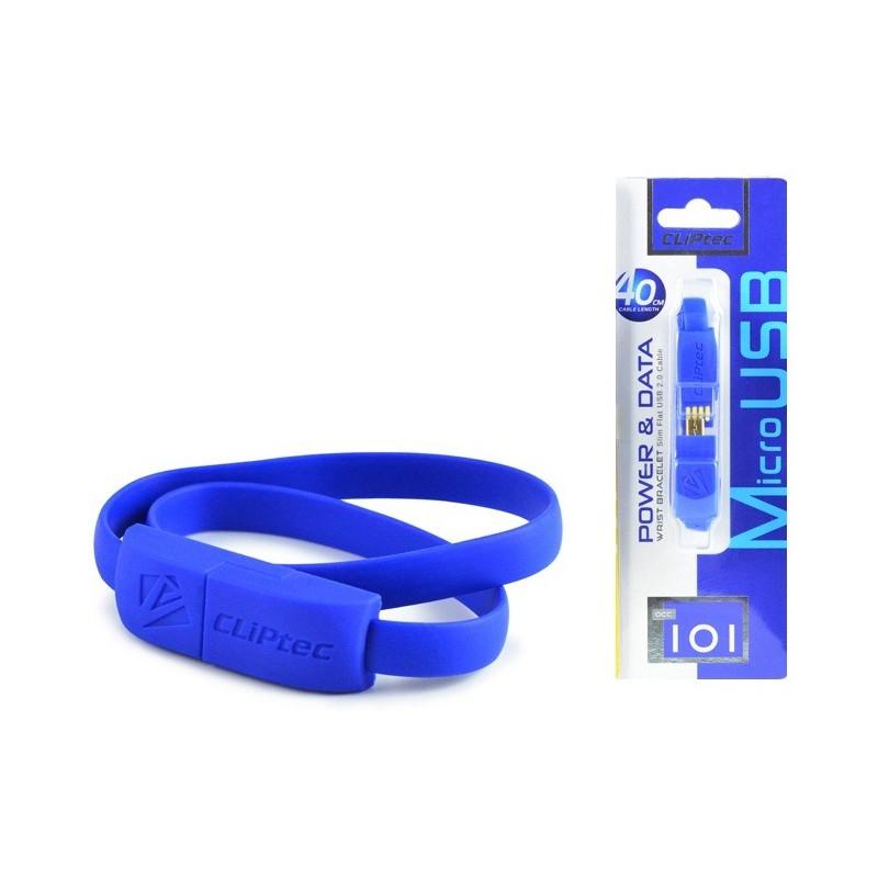 Câble CLiPtec BRACELET USB vers Micro-USB 40 cm / Bleu