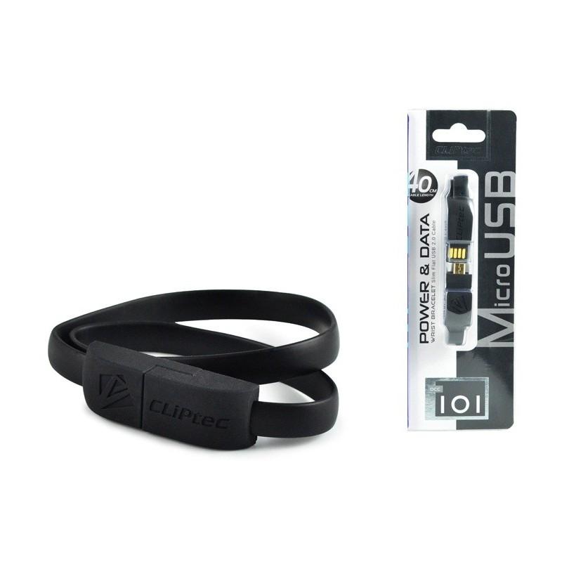 Câble CLiPtec BRACELET USB vers Micro-USB 40 cm / Noir