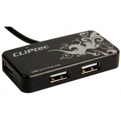 Hub 4 Ports USB CLiPtec FLORA / Noir