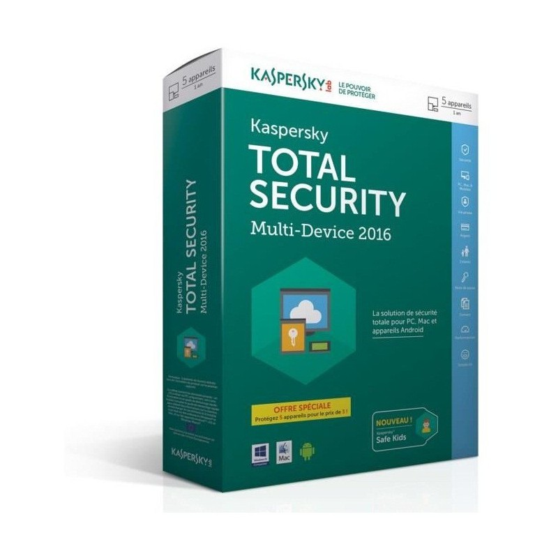 Kaspersky Total Security  Multi-Device 2016 - 1 an / 5 Pcs