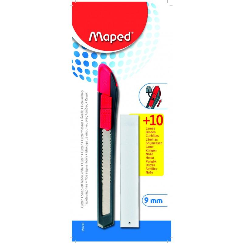 Cutteur Maped Plastique 9 mm + 10 Lames Blister