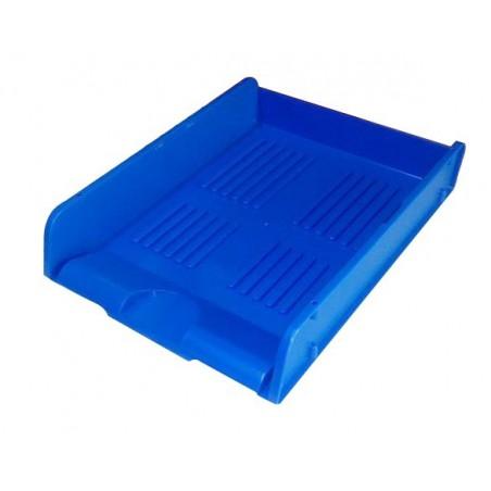 Corbeille à courrier HGE Cristal superposable A4 / Bleu