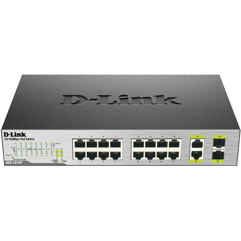 Switch D-Link 18 ports 10/100Mbps PoE