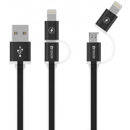 Câble YISON 2en1 USB vers Micro USB / Lightning / Noir