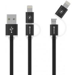 Câble YISON 2en1 USB vers Micro USB / Lightning / Blanc