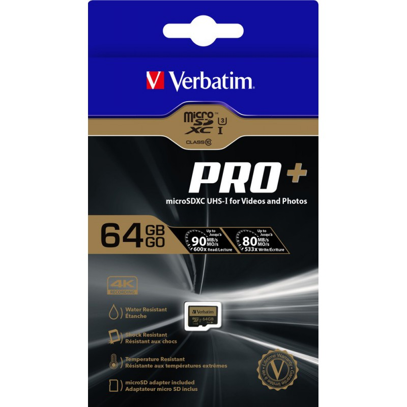 Carte Mémoire Micro SDXC Verbatim Pro+ U3 64 Go / Class 10