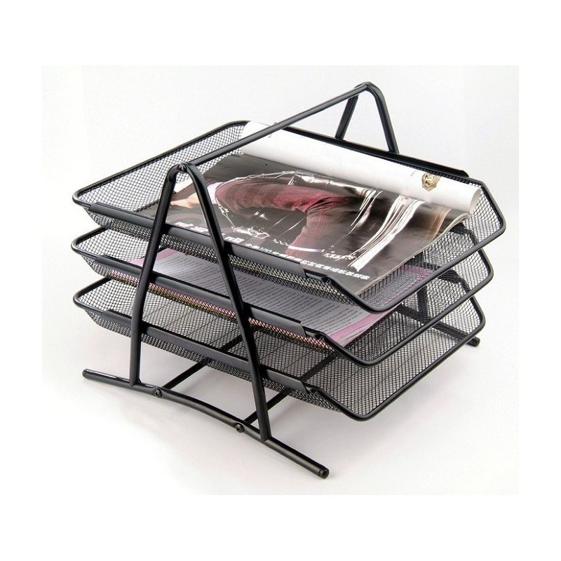 corbeille courrier superposable en m tal 3 tages noir. Black Bedroom Furniture Sets. Home Design Ideas