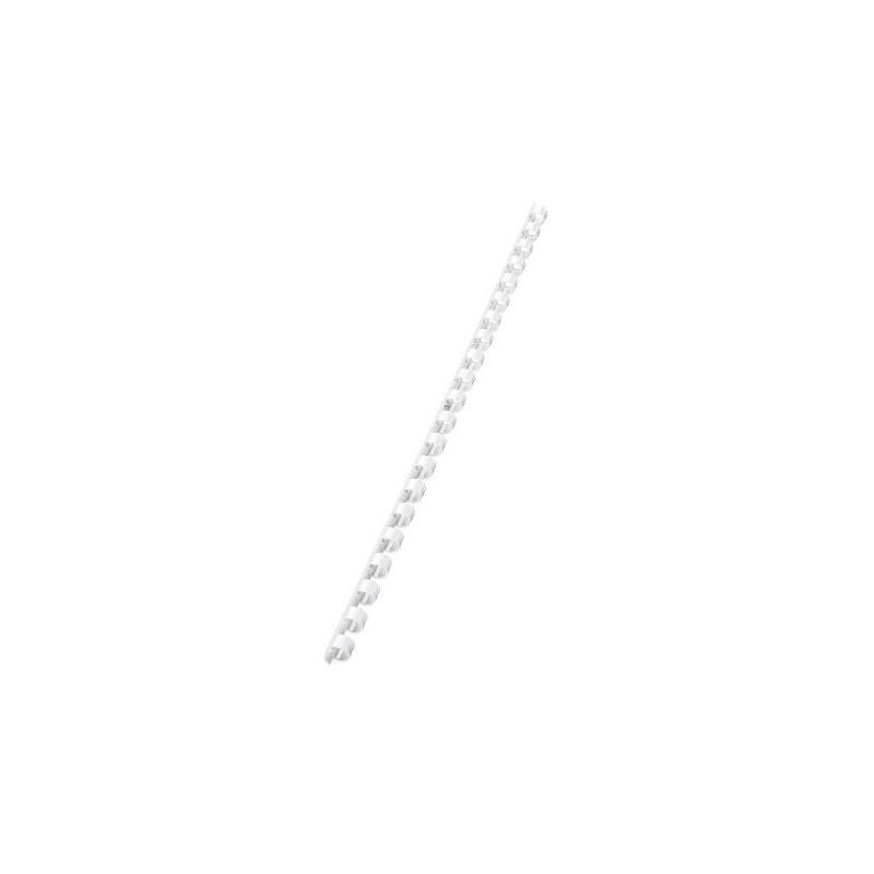 10 Reliures Spirale Plastique 8mm Blanc