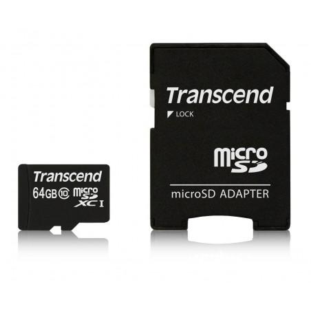 Carte Mémoire Transcend 64 Go microSDXC Classe 10 avec Adaptateur