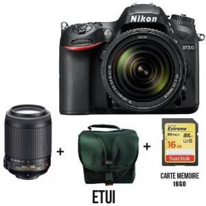 Réflex Numérique Nikon D7200 + AF-S DX Nikkor 18-55mm + Carte mémoire 16 Go + Etui Offerts