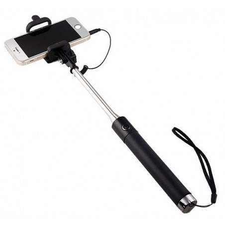 Perche télescopique selfie avec bouton intégré Noir