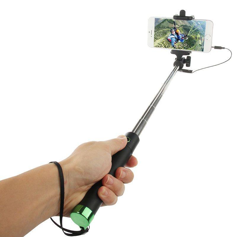 Perche télescopique selfie avec bouton intégré Vert