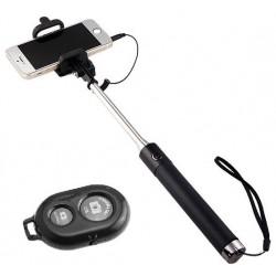 Perche télescopique selfie Bluetooth avec Télécommande / Noir