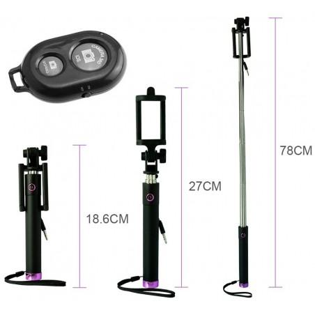 Perche télescopique selfie Bluetooth avec Télécommande / Violet